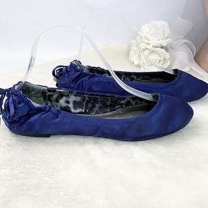 Express Blue Silk Corset Lace back Ballerina Flats